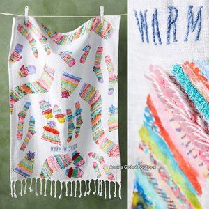 NWT ANTHROPOLOGIE Warm Wishes Embroidered Towel